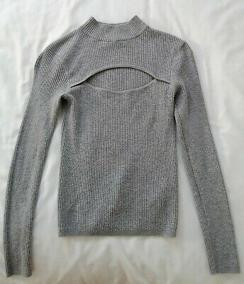 £4.99 • Buy H And M Xs Cut Out Grey Ribbed Long Sleeve Top