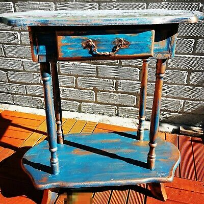 Upcycled Wooden Side Table With Drawer Green And Copper Painted Vintage 💚 • 0.99£