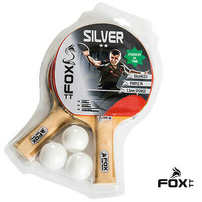 AU38.99 • Buy Table Tennis Bats And Balls Fox Tt Silver 2 Star 2 Player Set