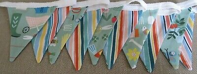 Gardening & Stripe Fabric Bunting Double Sided Handmade Shed Allotment Garden • 4.99£
