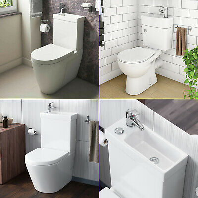 £239.99 • Buy 2 In 1 Close Couple Toilet And Basin Compact Combo With Seat Set Space Saver