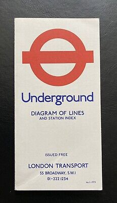 London Underground Tube Map - Diagram Of Lines And Station Index - No 2 - 1974 • 7.99£