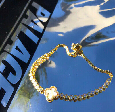 £30 • Buy Yellow Gold Plated Tennis Bracelet With Adjustable Strap (Real Mother Of Pearl)
