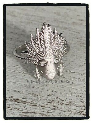 £35.14 • Buy Ring Head Indian Solid Silver 925/1000 Rhodium Jewelry Sizes 50 With 60