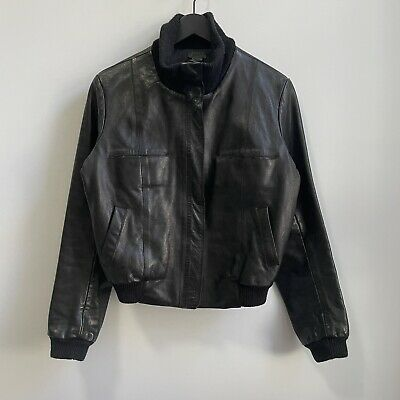 $99 • Buy M0851 Cropped Leather Jacket Bomber Zip Up S