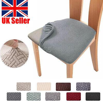 £3.99 • Buy Stretch Chair Seat Covers Removable Elastic Dining Chair Seat Cushion Slipcovers