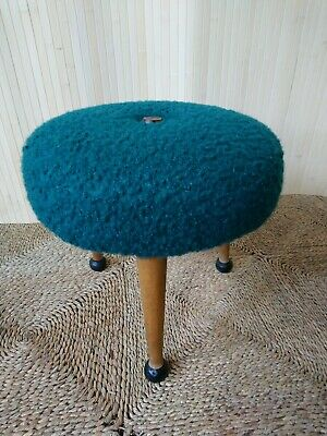 £65 • Buy Fab Vintage Retro Sherborne Tiny Pouffe Footstool Stool Bottle Green Teal Boucle