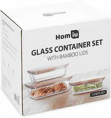 £14.99 • Buy Homiu Food Storage Glass Container, Airtight And Leak-Proof Bamboo Lid 3 Pack