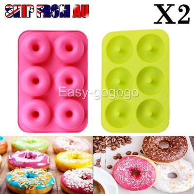 AU9.99 • Buy 2x Silicone Donut Muffin Chocolate Cake Cookie Cupcake Baking Mold Mould Tray AU