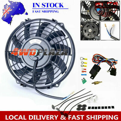 AU64 • Buy 9 Fan+mounting Kits+relay Pull/push Radiator Electric Thermo Cueved Blade Fan
