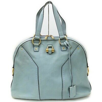 AU19.01 • Buy Yves Saint Laurent Tote Bag Muse To Light Blue Leather 1519524