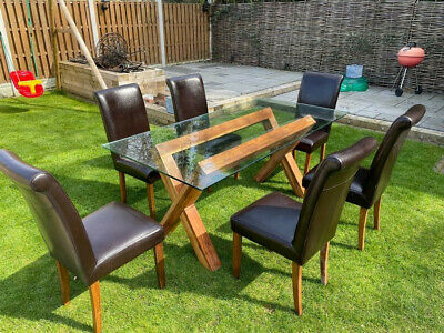 £200 • Buy Japanese Solid Wood Dining Table With 12mm Thick Bevelled Glass Top & 6 Chairs!