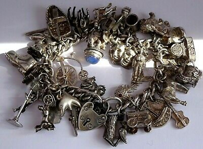 Amazing Vintage Solid Silver Charm Bracelet & 33 Charms,rare,open.move, 108.3g • 146£