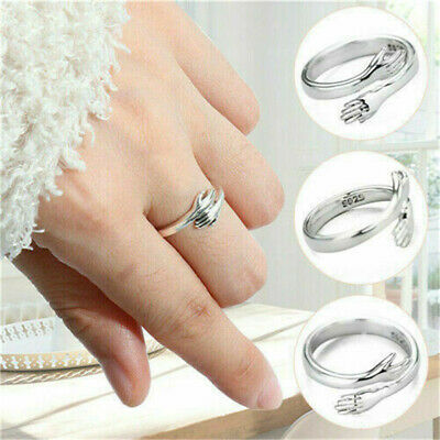 £1.99 • Buy 925 Sterling Silver Love Hug Ring Band Open Finger Adjustable Womens Jewelry UK