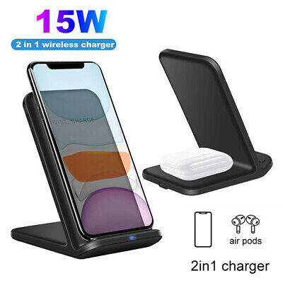 AU17.50 • Buy 15W 2IN1 Wireless Charger Charging Pad Dock Stand For IPhone 12Pro Max Air Pods