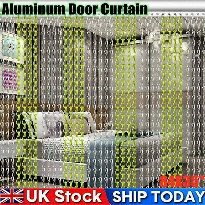 Aluminum Chain Door Curtain Metal Doorway Partition Summer Fly Screen Hanging UK • 33.98£