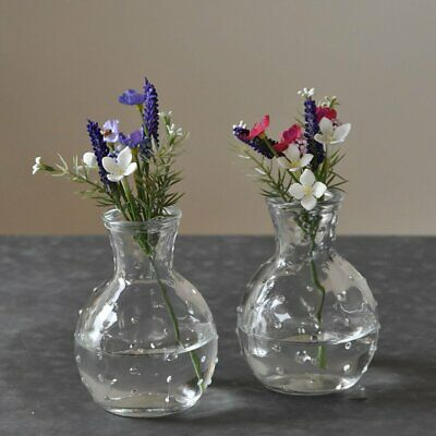 £8.99 • Buy Set Of 2 Small Clear Glass Bottles Dotty Bud Vase Vintage Style 10cm Tall