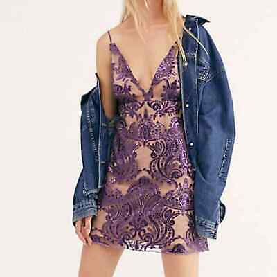 $95 • Buy NEW Free People Womens Nude Purple Sequin Night Shimmers Mini Party Dress 0