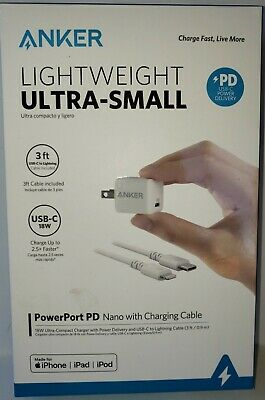 AU16.44 • Buy ANKER Lightweight Ultra-Small PowerPort PD Nano W/charging Cable USB-C 18W NEW!