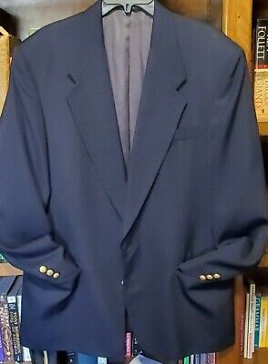 $50 • Buy Givenchy Monsieur Navy Blue Crested Gold Button Sport Coat Blazer 42R