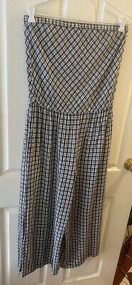 AU89 • Buy As New Tigerlily Cotton Strapless Jumpsuit: Gingham Check Black & White Size 14
