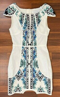 AU23 • Buy Finders Keepers Womens White/Black Floral Short Sleeve Dress Size XS