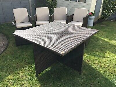 Brown Rattan Cube  Garden Furniture, 9 Piece Set. Table, 4 Chairs, 4 Footstools • 400£