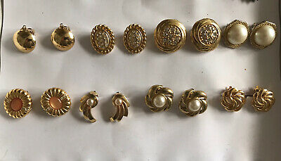 8 Pairs Vintage Costume Jewellery Sets Of Clip On Earrings Gold Pearl Round Oval • 8£