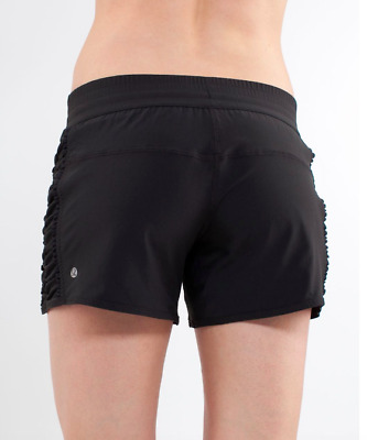 $ CDN43.94 • Buy Lululemon RUN: AROUND SHORTS Black Reversible Reflective Size 10 12