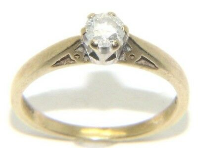 AU388.87 • Buy Women's Ladies 9ct 9carat Yellow Gold Diamond Solitaire Ring UK Size L 1/2