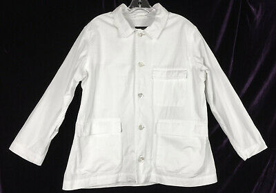AU103.39 • Buy Sz 0 Eskandar White Cotton Jacket Cargo Pockets Tunic