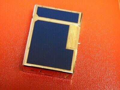 AU107.99 • Buy S T Dupont Line1 Small Lighter - Blue Lacquer/Gold Plated Trim