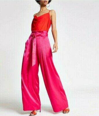River Island Hot Pink Silk Palazzo In Size 12 • 25£