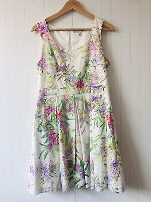 AU30 • Buy Forever New Size 14 White Purple Green Floral Fit Flare Dress Corporate Cocktail