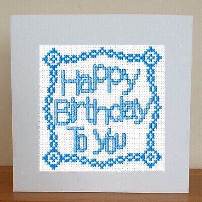 £6.95 • Buy Counted Cross Stitch Card Kit - Happy Birthday To You - Blue