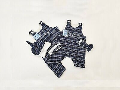 £15.89 • Buy Baby Clothes. Personalised, Tartan Romper, Hat, Headband. Gift. Natural Linen