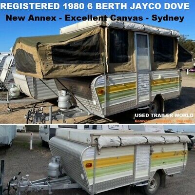 AU5990 • Buy Registered 1980 Jayco Dove 6 Berth Camper Trailer With New Annex