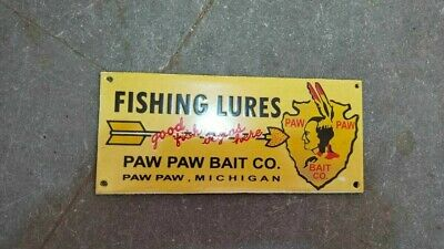 $ CDN19.42 • Buy Porcelain Fishing Lures Enamel Sign Size 8  X 3.5  Inches