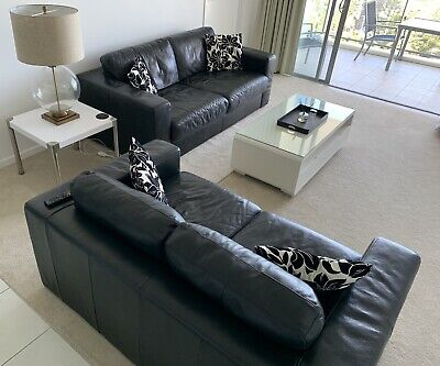 AU10 • Buy 2 & 3 Seater Black Leather Lounges