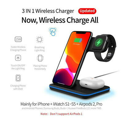 AU32.99 • Buy 15W 3 In 1 Wireless Fast Charger Dock For Apple Watch IPhone 12 Pro Max Airpod