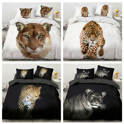 AU77.36 • Buy 3D Print Free Cheetah Animal Duvet Cover Quilt Cover Bedding Set Double King NEW
