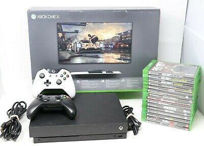 AU682.18 • Buy Microsoft Xbox One X 1TB Console Bundle -  Black 15 Games & 2 Controllers