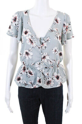 AU3.92 • Buy One Clothing Womens Short Sleeve Floral Blouse Top Blue Size XS