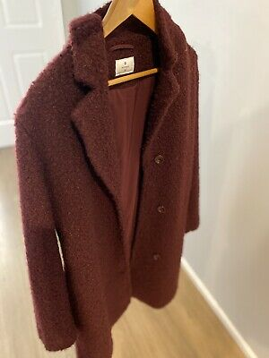 AU38 • Buy Forever New Wine Coloured Wool Blend Coat In Good Condition - Size 14