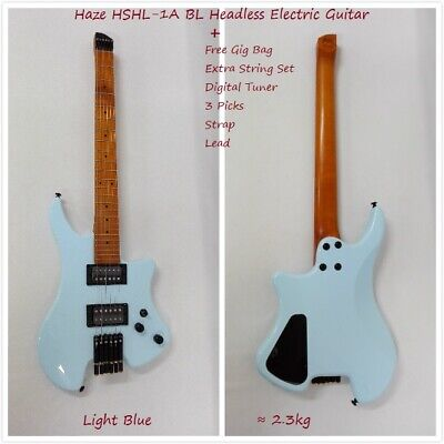AU425 • Buy Haze HZHL-1A BL Solid Maple Body Headless Electric Guitar,H-H Pickups+Padded Bag