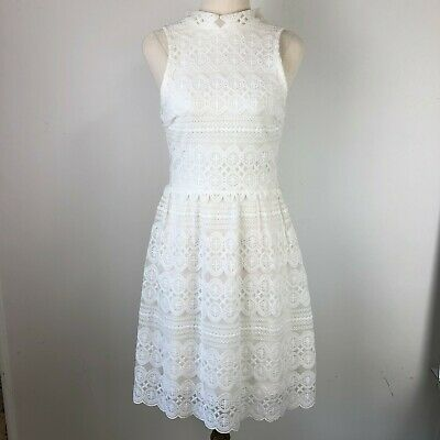 AU20 • Buy Forever New White Dress Size 6 Lace High Neck Sleeveless Stretch Short Skater
