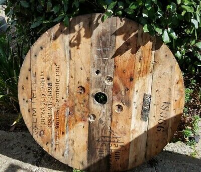 Very Large Wooden Cable Drum Reel Table Top [T1] • 45£
