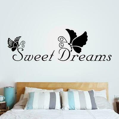 SWEET DREAMS Butterfly LOVE Quote Wall Stickers Bedroom Decals DIY O5D2 • 2.59£