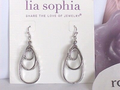 $ CDN12.41 • Buy Lia Sophia FREE FLYER / REVOLUTION Dangle Oval Tiered Hoop Earrings, NWT