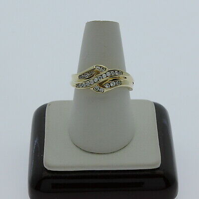 AU199 • Buy 9K Yellow Gold Ring Set With White Brilliant Diamond Simulated C.Z Stones R4302